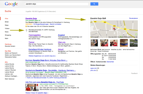Google Places am Beispiel vom Zanshin Dojo